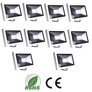 10×Auralum 50W Projecteur LED Ultraléger Spot LED IP65 3700LM Lumière Extérieur et Intérieur Blanc Froid 6000-6500K avec Coque Blanche