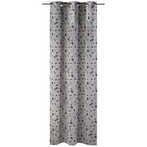 Rideau à illets en coton gris imprimé noir à lunité 105x250