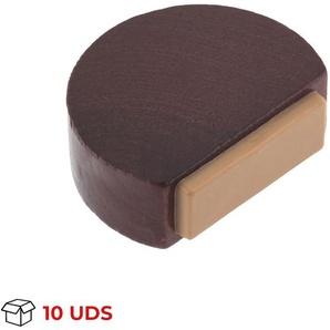 Boîte avec 10 Butée de porte adhésive REI, en bois, finition sapeli et forme circulaire