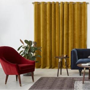 Julius, une paire de rideaux à œillets doublés en velours 168 x 228 cm, doré