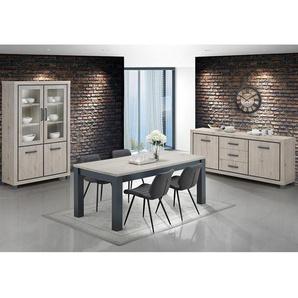 Salle à manger complète avec 4 chaises couleur chêne naturel et gris ELORANE