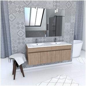 Ensemble Meuble de salle de bain chene celtique 120cm suspendu a portes + vasque ceramique blanche + miroir applique led - STARTED pack 59 - AURLANE