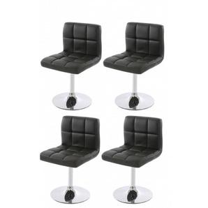 Lot de 4 chaises fauteuils de salle à manger en simili-cuir noir - DéCOSHOP26
