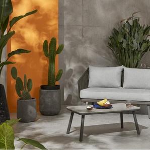 Alif, fauteuil d'extérieur, tissu gris et bois d'eucalyptus gris