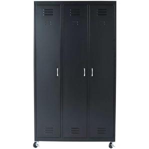 Dressing à roulettes 3 portes en métal noir Loft