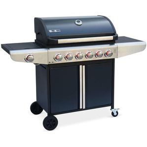 Barbecue gaz Bazin 6 Anthracite, 6 brûleurs + 1 feu latéral avec tablettes latérales et thermomètre - ALICES GARDEN