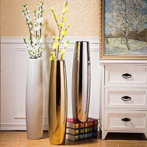 ZHFC-vase, electric plaquée or, 70 style salon grand vase céramique par électrolyse, sol, blanc et argent,18x72cm blanc