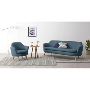 Nya, canapé 3 places, tissé bleu roi