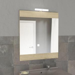 Miroir MIROSA bois cambrian avec applique LED - 70x80 cm - DESTOCK 35%