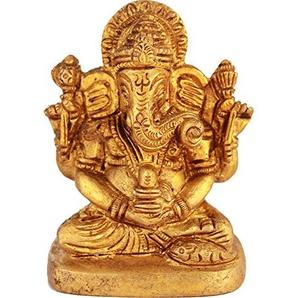 Exotic India Lord Ganesha Tenant Une Shiva Linga (, Jaune, Taille: 1,7x 2,4x 3,2