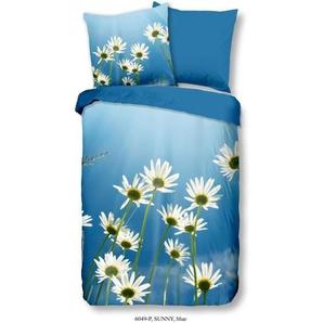 GOOD MORNING Parure de couette SUNNY 100% coton - 1 housse de couette 140x200 cm et 1 taie doreiller 60x70 cm - Bleu