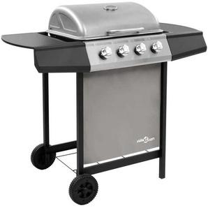 Hommoo Barbecue gril à gaz avec 4 brûleurs Noir et argenté