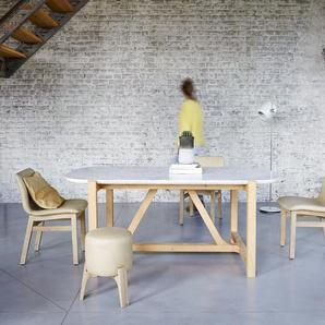 Table Stoneleaf en bois de chêne et marbre 180x95