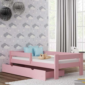 Lit Junior Paul - 9 couleurs - 70/160 ou 80/160 ou 80/180 - Rose - 70 cm x 160 cm