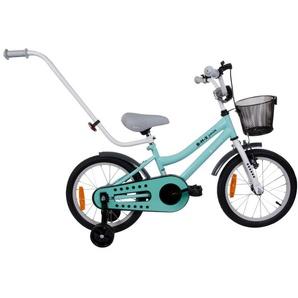 STORM | Vélo enfant dès 4 ans | Cadre Rigide | Roues latérales amovibles & Pneus 16 | Guidon parentale/Sonette/Frein/Carter/Panier | turquoise - TROUV
