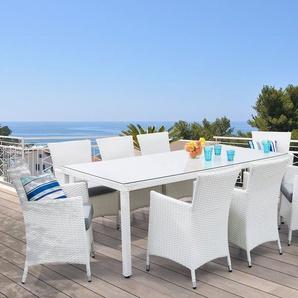Ensemble de jardin en polyrotin blanc 8 chaises - ITALY