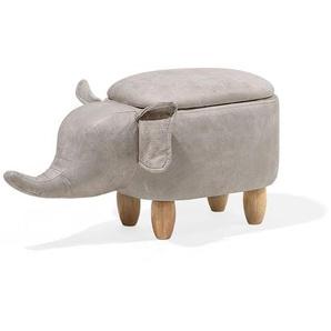 Tabouret animal éléphant en simili-cuir gris clair avec rangement