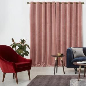 Julius, une paire de rideaux à œillets doublés en velours 228 x 228 cm, rose pâle