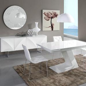 Salle à manger complète blanc laqué design HELGA