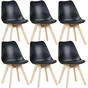Mevik - Lot de 6 Chaises Noires