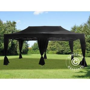 Tente pliante Chapiteau pliable Tonnelle pliante Barnum pliant FleXtents PRO 3x6m Noir, incl. 6 rideaux decoratifs - DANCOVER