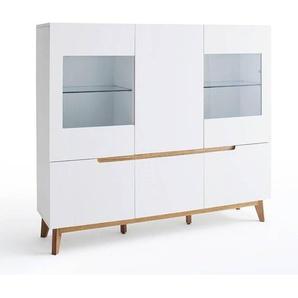 Vitrine style scandinave CLEMENT laquée blanc mat 6 portes