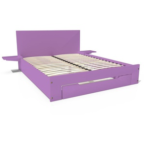 Lit Happy + tiroirs + chevets amovibles - 2 places 140x190 Lilas