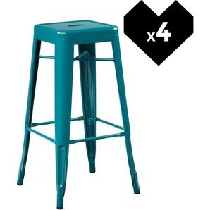 Lot de 4 Tabourets Hauts LIX Bleu Turquoise - INDECEMI