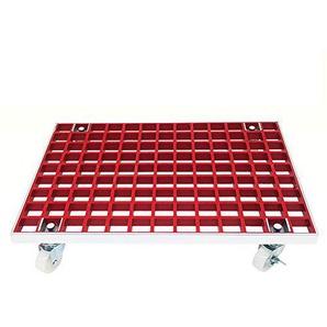 ZQღ Chariot à plantes en métal avec roulettes et 6 roulettes de qualité industrielle et bord en aluminium, extérieur intérieur 38,1 cm Rétro size Red