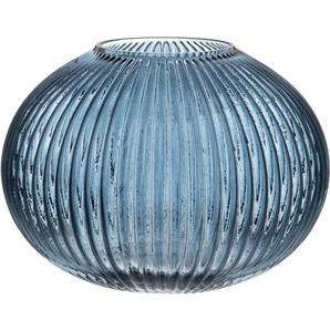 Vase boule en verre strié bleu H14