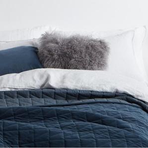 Julius couvre-lit 225 x 220 cm en velours bleu encre