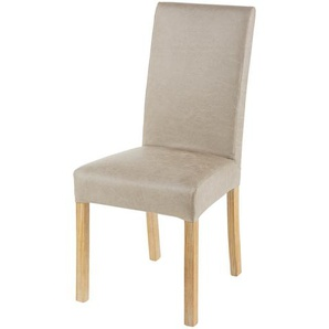 Housse de chaise en microsuède beige 41x70