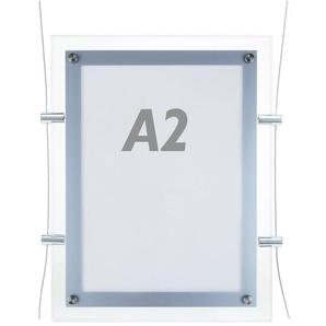PrimeMatik - Cadre carré avec éclairage LED acrylique A2 495x670mm recto-verso pour affiche publicitaire o signe