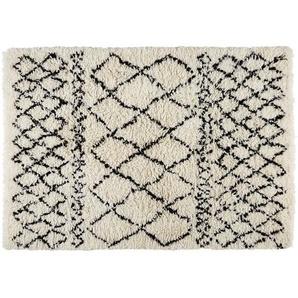 Tapis berbère en laine et coton écru/noir 140x200cm