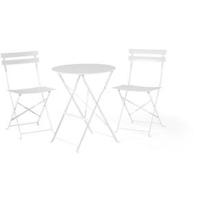 Table et 2 chaises de jardin en acier blanc FIORI