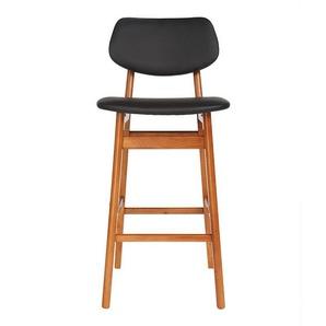 Chaise de bar design bois de noyer et noir 65 cm NORDECO - MILIBOO