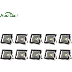 10×Auralum 50W Projecteur LED IP65 Spot LED Éclairage Extérieur et Intérieur 4200-5000LM Blanc Chaud 3000-3500K Coque Gris