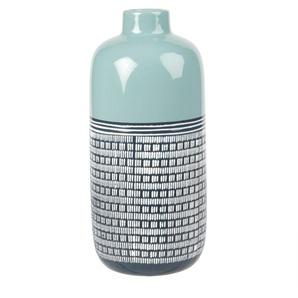 Vase en céramique bleu ciel et motifs graphiques H30