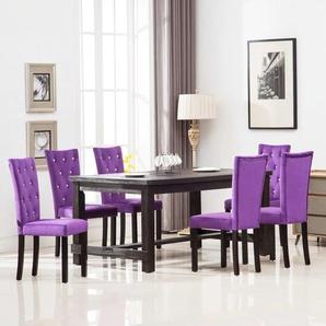 Chaises de salle à manger 6 pcs Violet Velours - VIDAXL