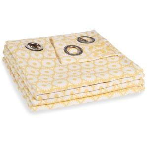 Rideau à illets en coton motifs jaunes à lunité 140x250