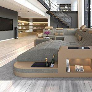 Sofa Dreams Tissu Design dintérieur Wave XXL Materialmix Marron Clair Beige Sable