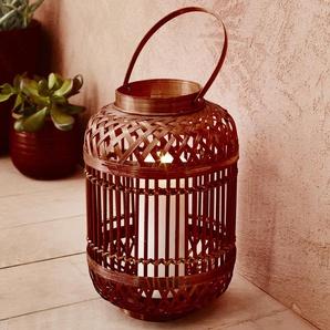 Lanterne en bambou marron H30x19,5cm