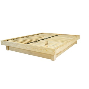 Lit plateforme bois massif pas cher 160x200 Vernis Naturel
