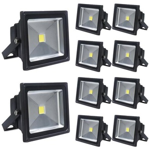 10×Auralum 50W Projecteurs LED Spot LED Lampe IP65 Étanche Lumière Blanc Chaud 3000K Couleur Noir