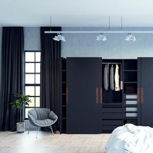 Dressing - Noir, design, armoire penderie pour chambre ou entrée, haut de gamme, avec portes coulissantes - 404 x 233 x 65 cm, modulable