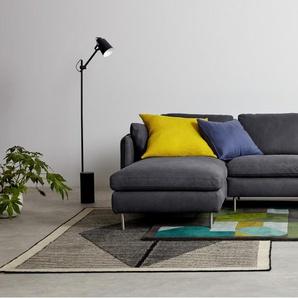 Vento, canapé dangle 3 places avec méridienne à gauche, cuir gris