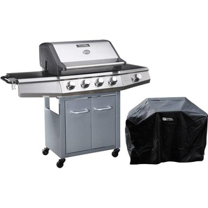Barbecue gaz avec LED Bingo 5 - 5 Brûleurs dont 1 latéral - 15.2kW + Housse protection - Argenté - HABITAT ET JARDIN