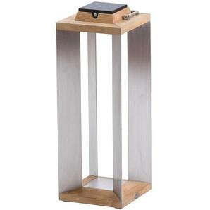 TINKA TECKA-Lanterne dextérieur LED rechargeable & solaire Bois/Inox H65,5cm teck naturel Les Jardins