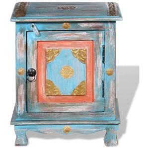 Table de nuit chevet commode armoire meuble chambre bois de manguier massif bleu - Bois - HELLOSHOP26