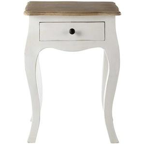 Table de chevet avec tiroir en acacia et manguier blanche Versailles